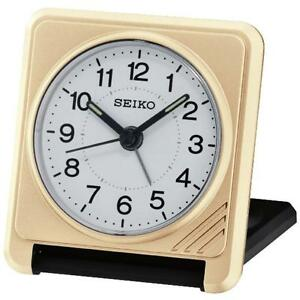 Seiko QHT015G Superior Travel Alarm Clock with Lumibrite Hands - Gold / Black