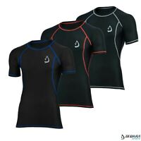 Mens Compression Shirt Baselayer Short Sleeves Breathable Skin Tight Rash Guard