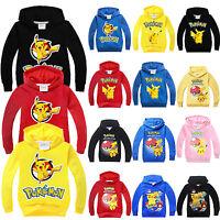 Kids Boys Girls Pokemon Pikachu Sweatshirt Hoodies Hooded Sweater Pullover Tops