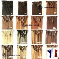 Extension de Cheveux A Clip Semi Naturel Extra Volume 130g/56cm Effet Remy hair