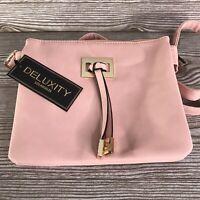 NWT Deluxity Vegan Leather Light Pink Crossbody Bag Purse