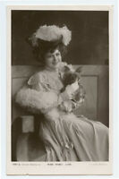 c 1904 Pretty LADY w/ CAIRN TERRIER Mabel Love fashion actress photo postcard