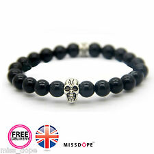 NEW Silver Skull Black Stone Bead Bracelet Womens Mens Golden Gothic Bangle UK