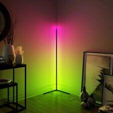 LED Corner Floor Lamp - Hue RGB Colours - Black Body - Minimalist with Remote