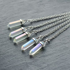 Pastel Angel Clear Quartz Crystal Stone Necklace-Aura Boho Silver-Gift Jewellery