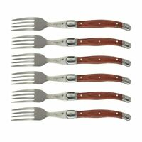 Laguiole Steak Forks Stainless Steel Table Fork Set Wood Cutlery Dinnerware 8.7'