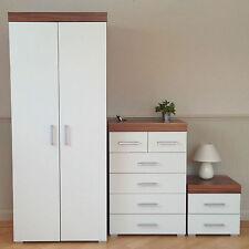 Bedroom Furniture Set *White & Walnut* Wardrobe 4+2 Drawer Chest Bedside Cabinet