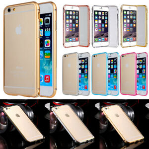 For iPhone 4 5 SE 6+ Bumper Case Metal Frame Armor Cover Rugged Silicone