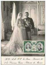 PC 1956 Royalty Monaco princess GRACE KELLY - Wedding Dress ~real stamps~ #green
