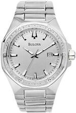 BULOVA DRESS 20 DIAMONDS DATE SILVER DIAL STAINLESS STEEL MEN'S WATCH 96E114 NEW