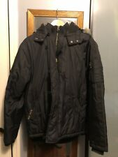 TRIPLE FIVE SOUL Mens Winter Jacket Coat W/ Fur Hood. Black Size Medium m