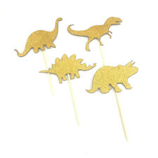 4pcs gold dinosaur cake topper kids cupcake birthday party decoration diy FT