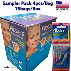75bags/Box Piksters Sampler Pack Interdental Brushes Reusable Size 00, 0, 1, 3