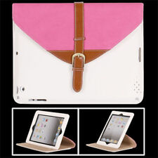 ETUI PORTE TABLETTE A RABAT iPAD 2 3 4 CARTABLE ROSE & BLANC ECO-CUIR (PU)