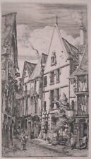 """La Rue des Toiles, Bourges"" etching by Charles Meryon"