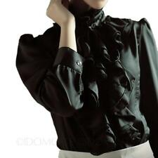 Womens Ladies High Neck Blouse Glamour Shirt Vintage Satin Victorian Top Size Black 14