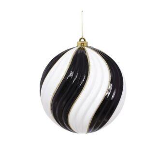 Mark Roberts Christmas 2020 Spiral Glitters Ornament, 10 inches, Black/White