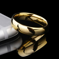Tungsten Carbide 6mm Men's Wedding Engagement Ring Yellow Gold Plated Band M13