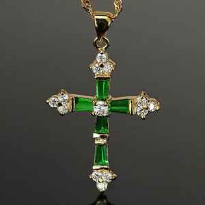 "1 Ct Baguette Cut Green Emerald Cross Pendant W/18"" Chain 14k Yellow Gold Plated"