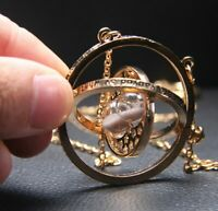 Harry Potter Time Turner Hermione Granger Necklace Rotating Spins Hourglass Gold