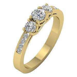 Three Stone Engagement Ring I1 G 1.01 Ct Round Cut Diamond 14K Solid Yellow Gold