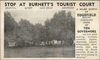 Edgefield SC Burnett's Tourist Court Postcard