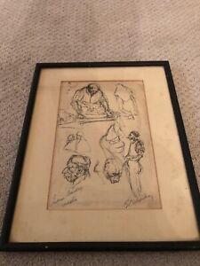 👀 Antique Impressionist Ink Drawing of Indian, Signed - Gerard Schneider