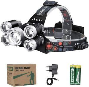 Lampe Frontale 5 Led Ultra Puissante 12000 Lumen Rechargeable USB Étanche Chasse
