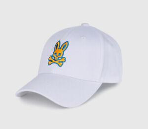 Psycho Bunny Men's White Embroidered Bunny Logo Baseball Cap
