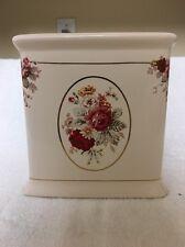 Retired Waverly Vintage Rose Ceramic Square Kleenex Tissue Box Cover HTF