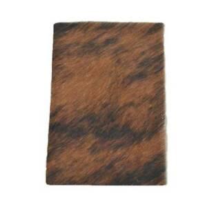 "Medium Brindle Leather Hair on Cow Hide 4"" x 6"" Pre-cut -10"