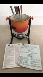 Vintage -Complete 'Le Creuset' Fondue Set ,Volcanic Orange ,Cast Iron - Ref 6001