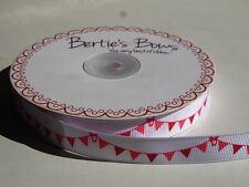 3 M Bertie's Bows Rosa Lunares Empavesado en 16 mm Blanco Cinta del Grosgrain, Envoltura