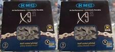 "KMC X9.93-9-24 SPEED 1/2"" X 11/128"" MTB-ROAD NICKEL PLATED BICYCLE CHAINS-1 PAIR"