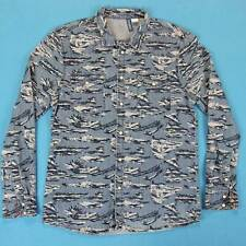 Men's H&M Pearl Snap Shirt Size Medium M Slim Fit All Over Pattern Western