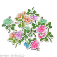 30PCs Wood Buttons 2 Holes Flower Rose Sewing Scrapbooking 2.9x2.3cm