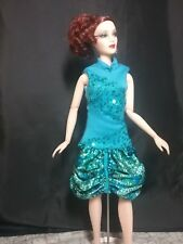 "SALE! Turquoise Temerity -  a cocktail dress to fit most 16"" Fashion Dolls"