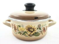 Vintage 2 Piece Enamelware Round Cookware Pot Pan Handles Sunflowers Brown 1 QT
