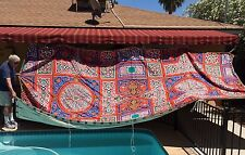 Vintage 1980s EGYPTIAN BEDOUIN TENT TOP ~ 8.5 ft by 16.5 ft ~ Red Blue Green