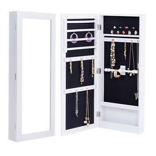 Wall Mounted Mirrored Jewelry Cabinet Armoire Storage Organizer Box White New