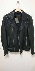All Saints Conroy Leather Jacket XS Ink Navy *NEW*