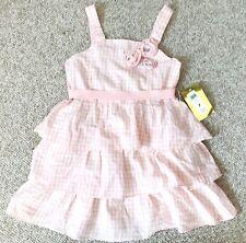 ABS kids Peach Pink White Plaid Check Sun Dress Flower Layered Flared Girl 7 $58