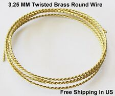 3.25 MM Yellow Brass Twisted Wire / 4 Ft. Coil - Solid Raw Yellow #260 brass