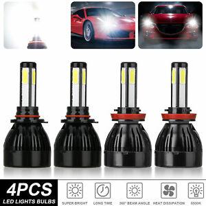 4x 9005+H11 Combo COB LED Headlight Kit High Low Beam Bulbs 6000k Super White