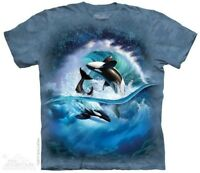 Orca Wave Kids T-Shirt by The Mountain. Killer Whales Sizes S-XL Youth NEW