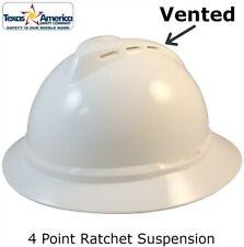 Msa Advance Full Brim Vented Hard Hat With 4 Pt Ratchet Suspension White