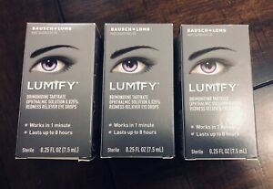 3x Bausch + Lomb LUMIFY Redness Reliever Eye Drops 0.25 Fl Oz (7.5mL)(3 Bottles)