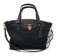 Michael Kors Hamilton Nylon Large Top Zip Satchel Shoulder Bag in Black