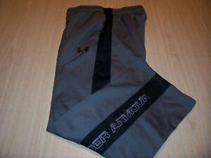 UNDER ARMOUR LOOSE FIT GRAY/BLACK ATHLETIC PANTS BOYS MEDIUM 10-12 EXCELLENT