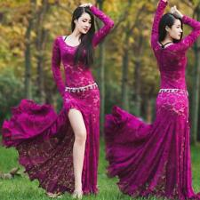 Sexy Women's Full Length Belly Dance Long Sleeve Hollow Lace Dress Costume X965